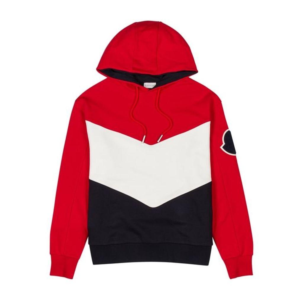 Moncler Colour-blocked Hooded Cotton Sweatshirt