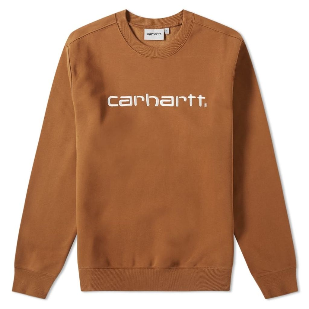 Carhartt Embroidered Logo Sweat Hamilton Brown & White