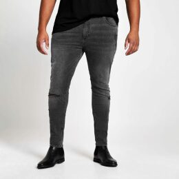 Mens River Island Big and Tall Black wash ripped jeans