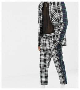 Milk It Vintage relaxed check trousers with contrast side stripe-Black