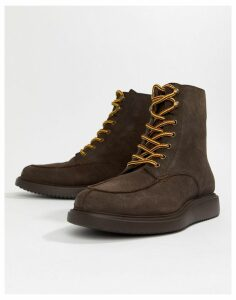 H By Hudson Belper lace up boots in brown suede