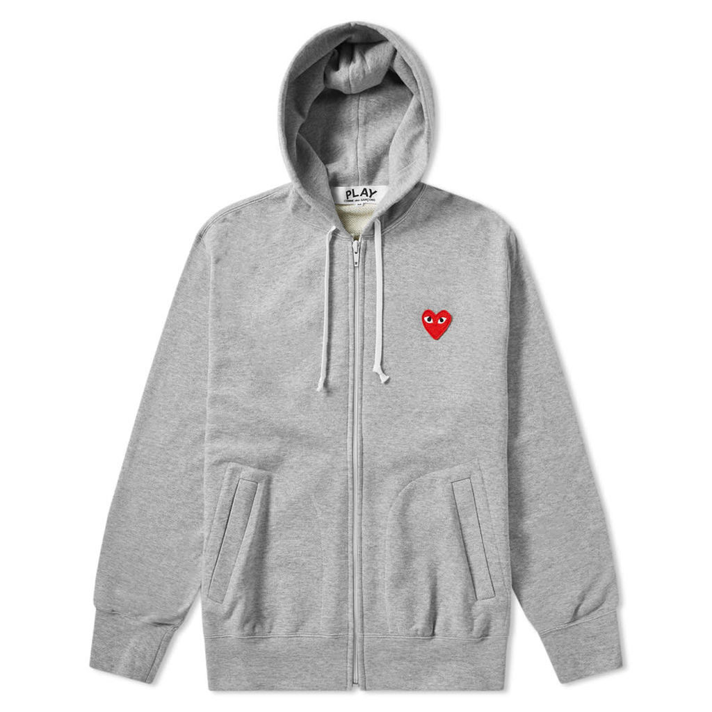 Comme des Garcons Play Full Zip Hoody Grey & Red