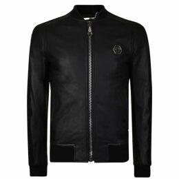 Philipp Plein Logo Leather Bomber Jacket