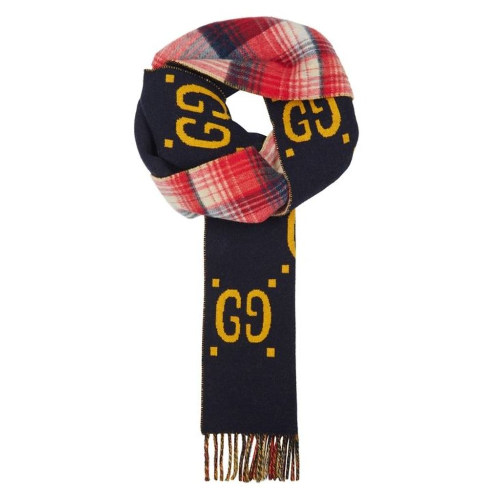 Gucci GG Navy Reversible Wool Scarf
