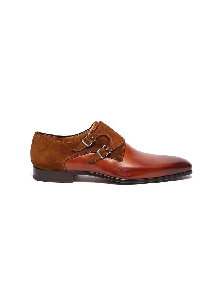 Suede panel double monk strap leather shoes