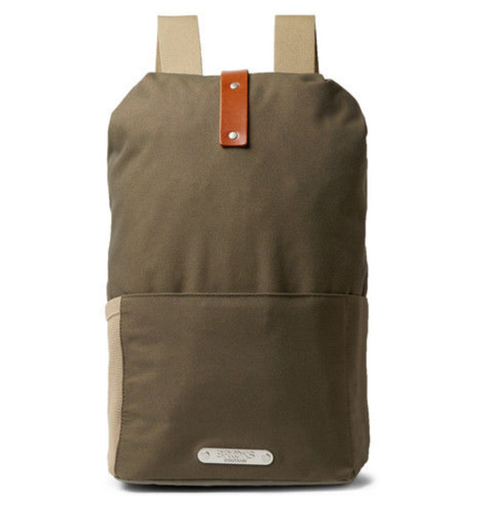 Brooks England - Dalston Leather-trimmed Canvas Backpack - Army green