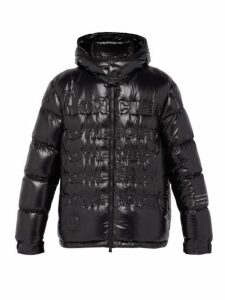 7 Moncler Fragment - Hooded Debossed Glossed Nylon Down Jacket - Mens - Black