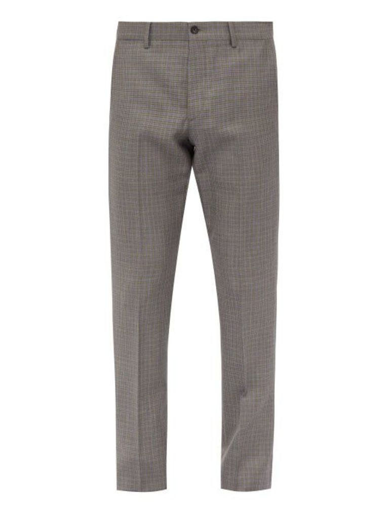 Bottega Veneta - Houndstooth Wool Blend Trousers - Mens - Dark Grey