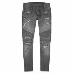 Balmain Grey Distressed Slim-leg Jeans