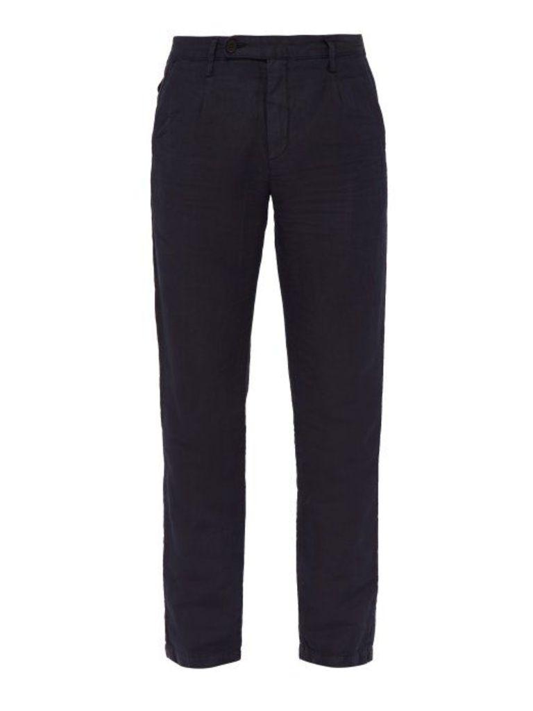 Massimo Alba - Straight Leg Linen Blend Trousers - Mens - Navy