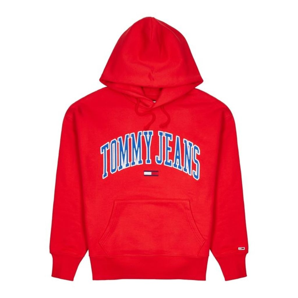 Tommy Jeans Red Appliquéd Cotton Sweatshirt