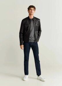 Black nappa biker jacket