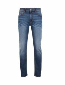 Mens Mid Wash Blake Slim Fit Jeans, Blue