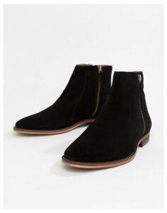 WALK London Dominic zip chelsea boots in black suede