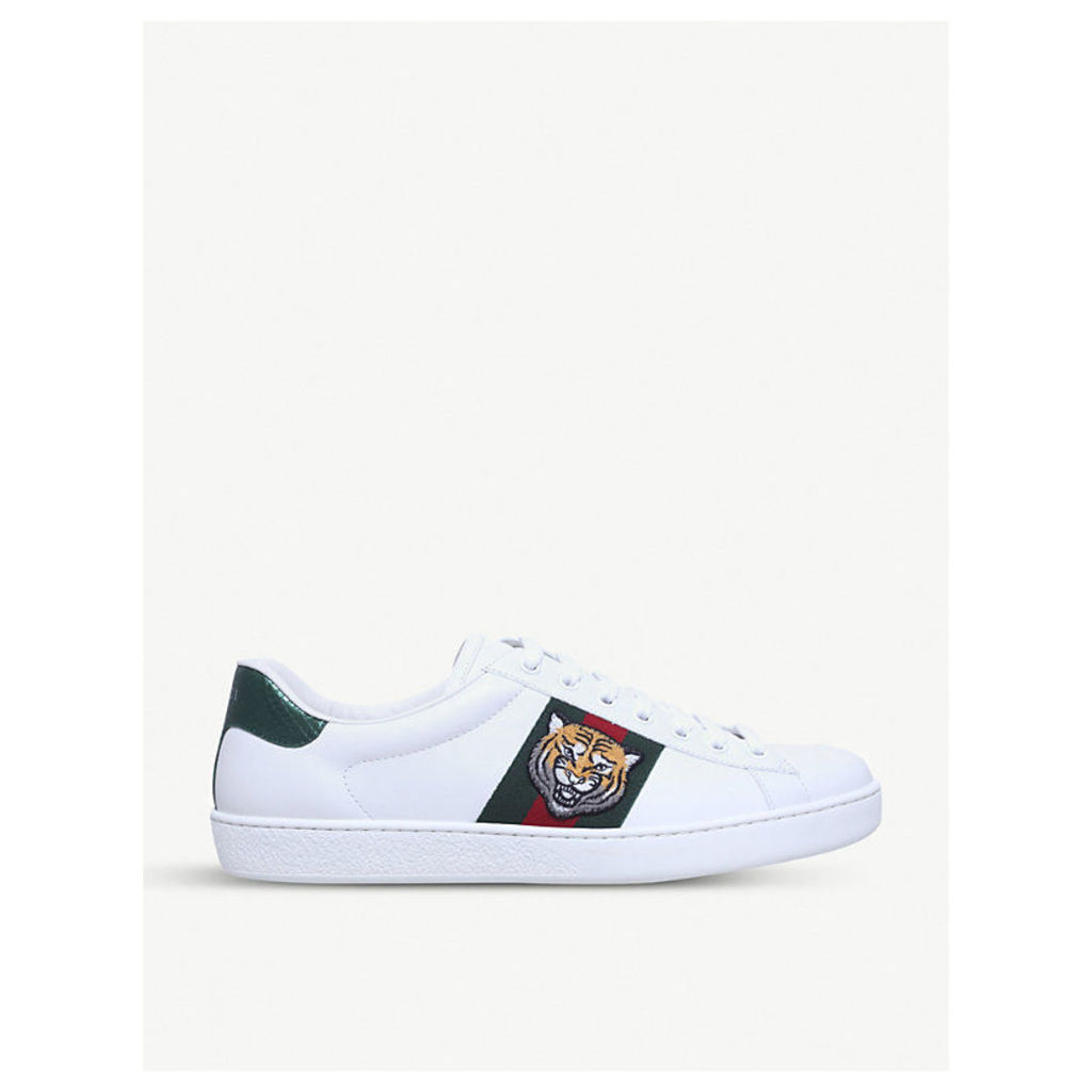 New Ace tiger-embroidered leather trainers