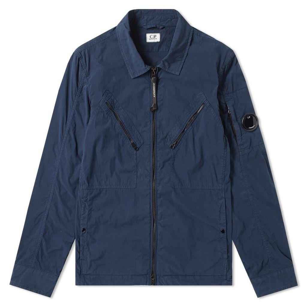 C.P. Company Cotton Nylon Arm Lens Shirt Jacket Navy