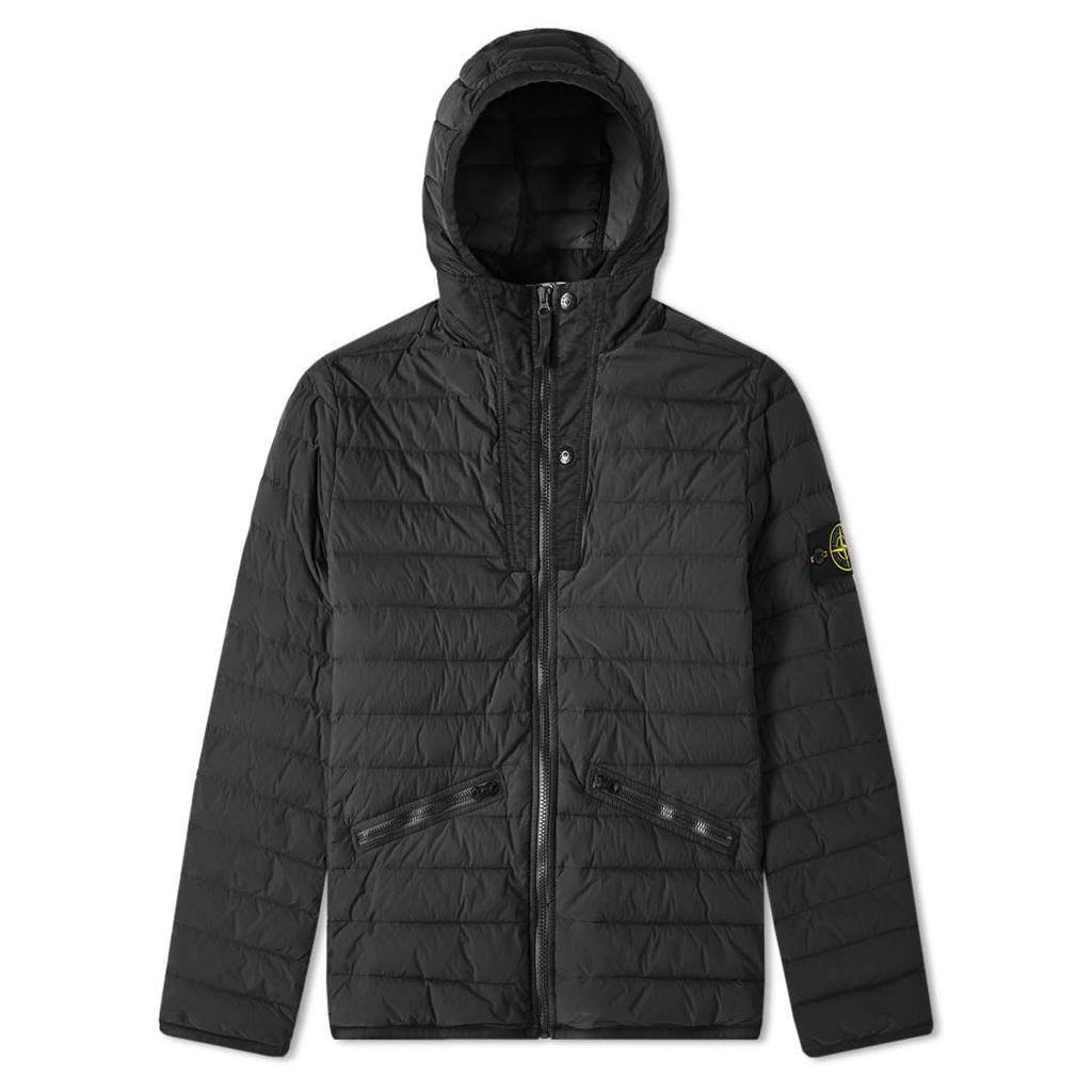 Stone Island Zip Hooded Loom Down Jacket Black