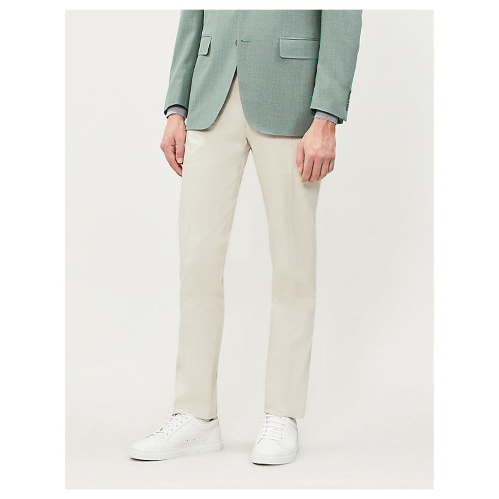 Regular-fit straight stretch-cotton trousers