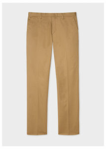 Men's Slim-Fit Tan Stretch-Cotton Chinos