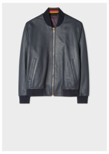 Men's Navy Leather Bomber Jacket