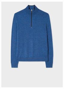 Men's Blue Marl Funnel Neck Merino Wool Half-Zip Sweater