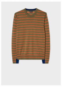 Men's Khaki Thin Stripe Merino Wool Sweater