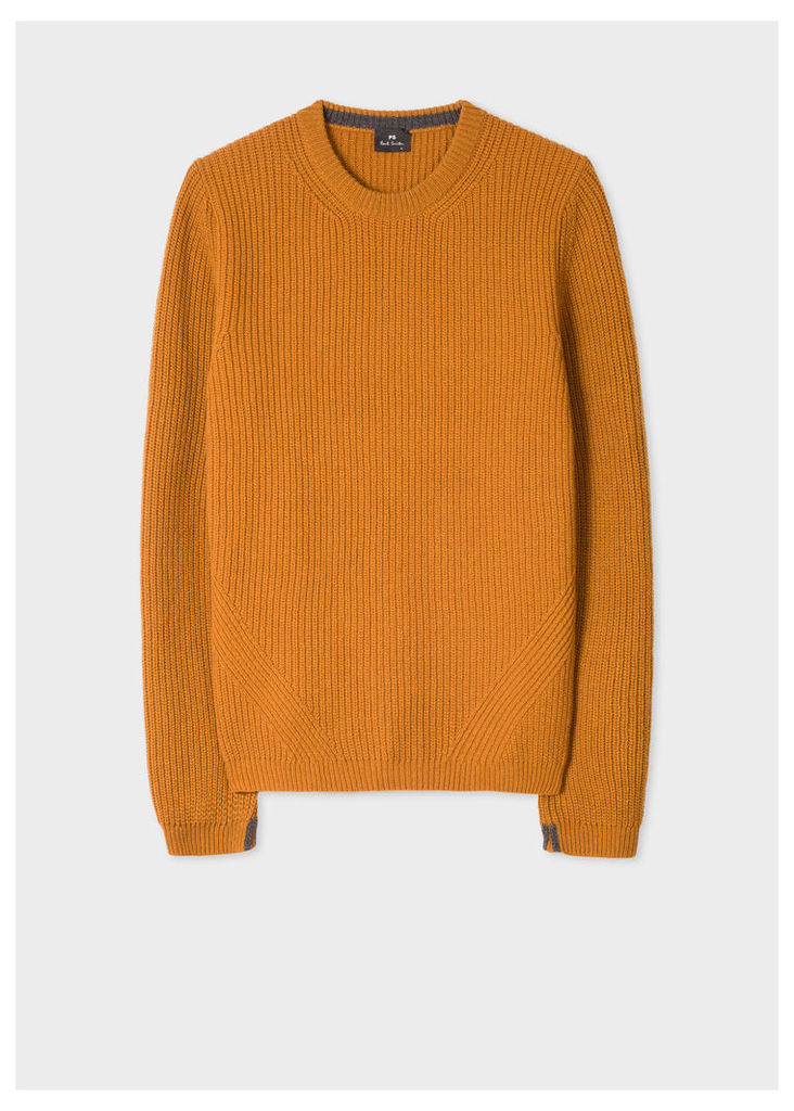 Men's Mustard Ribbed Wool-Blend Sweater