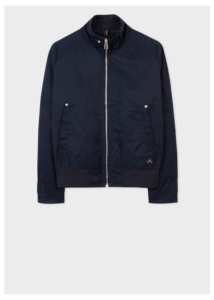 Men's Navy Cotton-Blend Harrington Jacket
