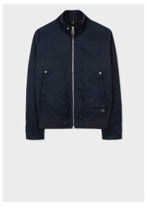 Men's Navy Cotton-Blend Harrington Jacket