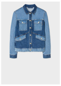 Men's Mid-Wash Patchwork Denim Jacket