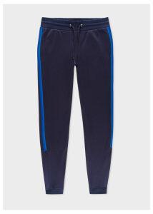 Men's Navy Cotton-Blend Sweatpants With Tape Details