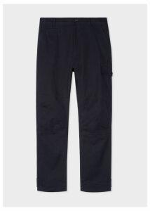 Men's Dark Navy Garment-Dyed Stretch-Cotton Cargo Trousers
