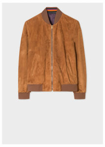 Men's Tan Suede Bomber Jacket With 'Artist Stripe' Cuff Linings