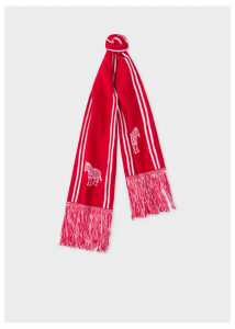 Men's Red And White 'Zebra' Double-Face Scarf