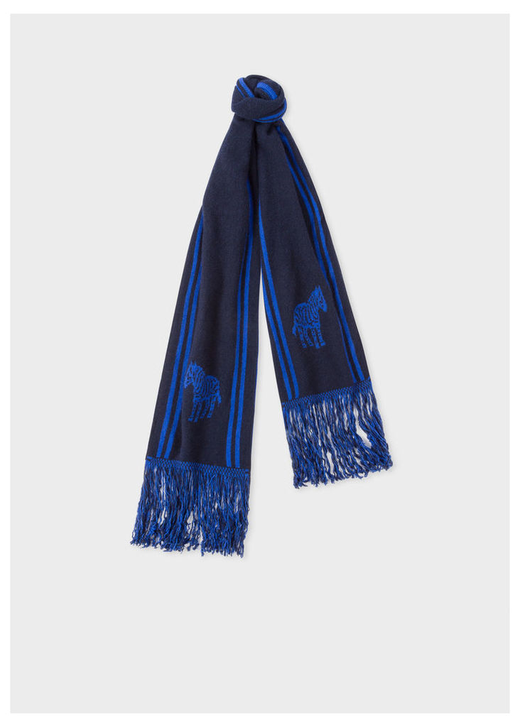 Men's Navy And Blue 'Zebra' Double-Face Scarf
