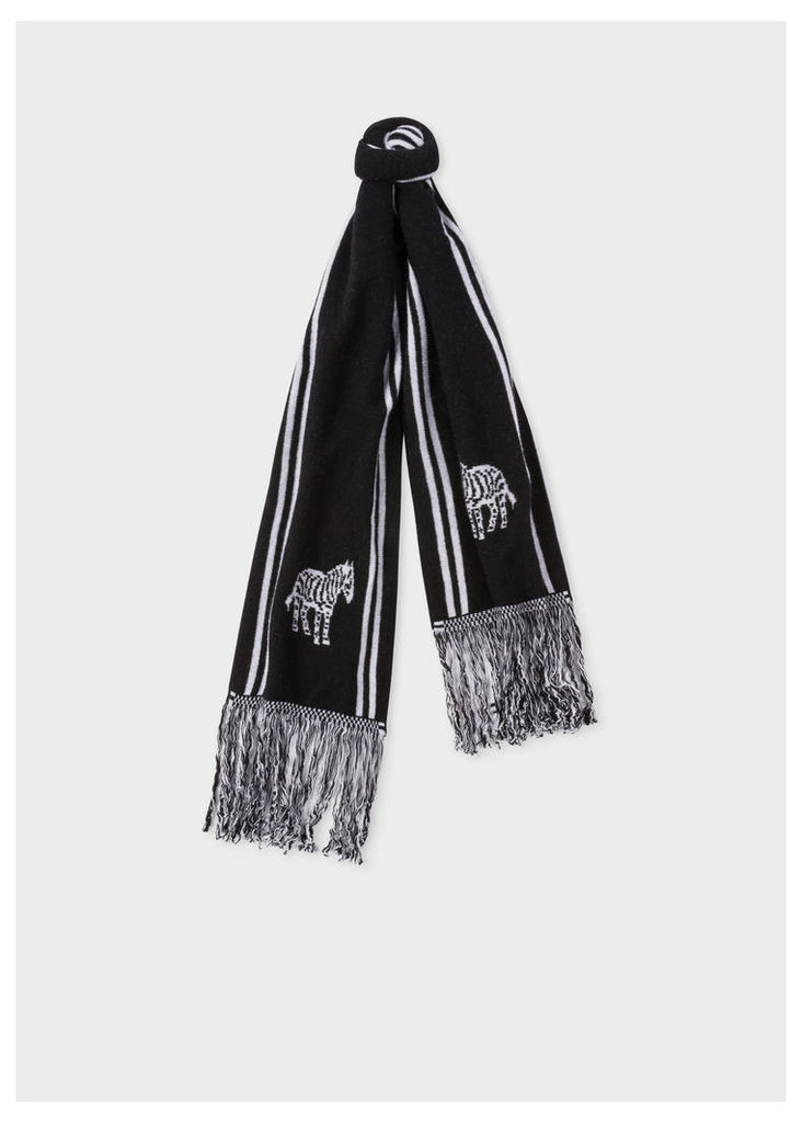 Men's Black And White 'Zebra' Double-Face Scarf