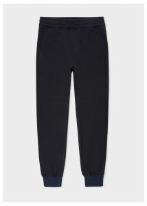 Men's Navy Textured Cotton Drawstring Trousers