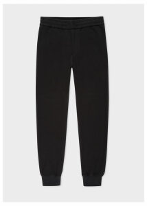Men's Black Textured Cotton Drawstring Trousers