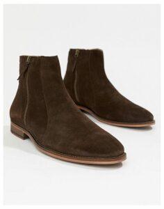 WALK London Dominic zip chelsea boots in brown suede