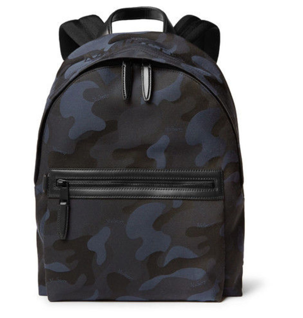 Mulberry - Leather-trimmed Camouflage-print Canvas Backpack - Navy