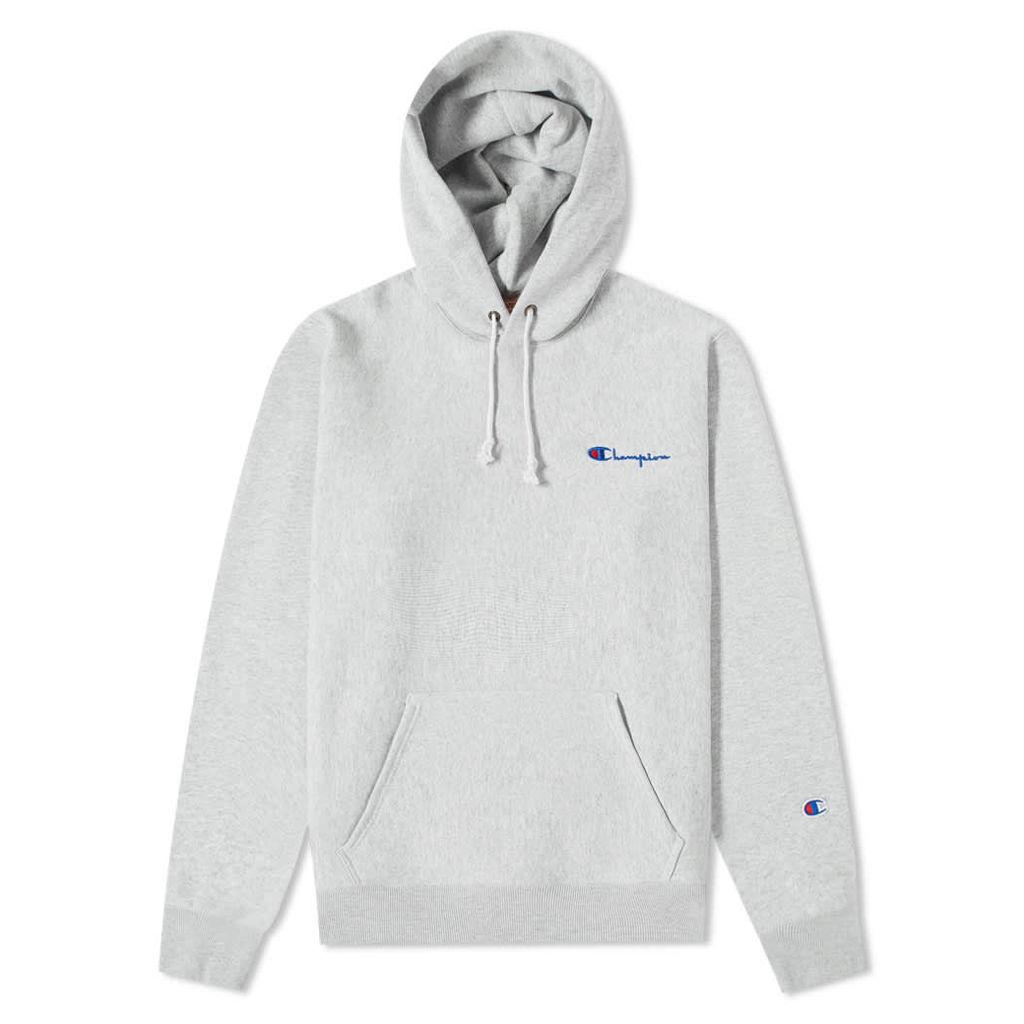 Champion Reverse Weave Small Script Logo Hoody Grey Melange
