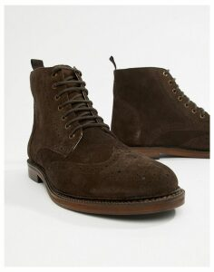 WALK London Darcy brogue boots in brown suede