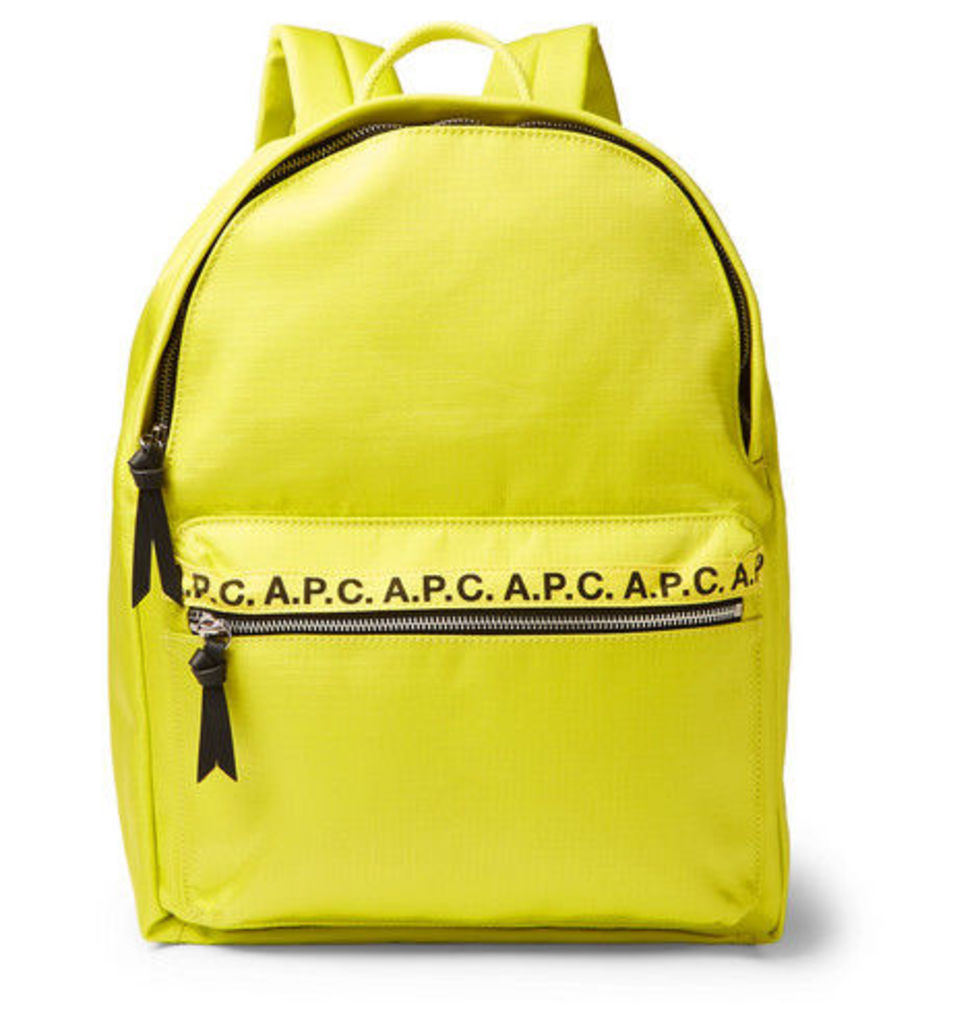 A.P.C. - Logo And Leather-trimmed Ripstop Backpack - Yellow