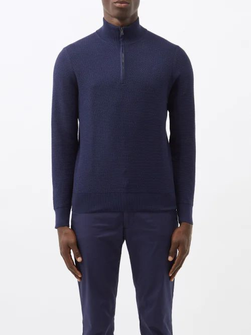 Dunhill - Relaxed Wool Trousers - Mens - Navy
