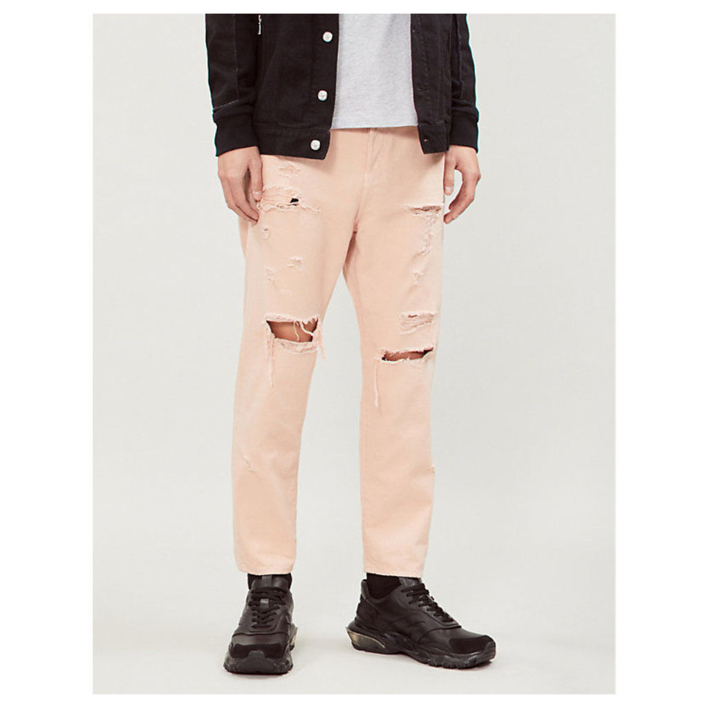 Ripped slim-fit straight jeans