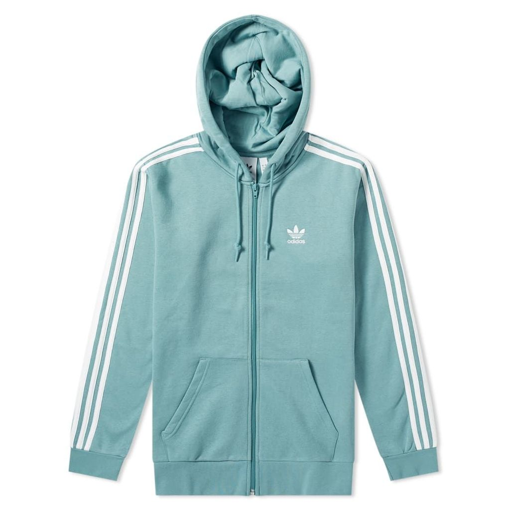 Adidas 3 Stripe Full Zip Hoody Vapour Steel