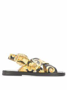 Versace baroque print sandals - Black