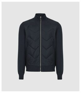 Reiss Alban - Quilted Zip Through Top in Navy, Mens, Size XXL