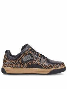 Fendi lace-up FF logo sneakers - Black