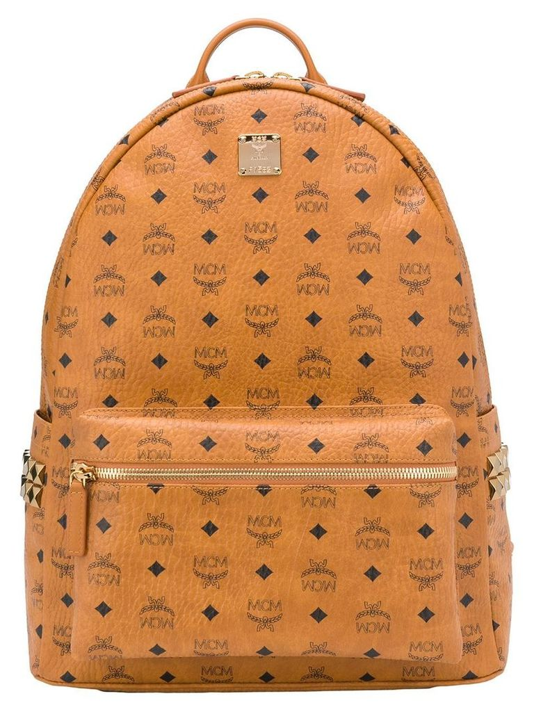 MCM all over logo backpack - Brown